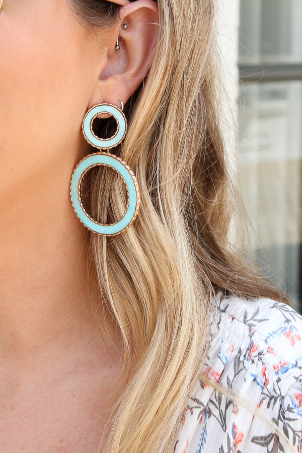 Mint Endless Dream Shell Circle Earrings - FINAL SALE - Madison + Mallory