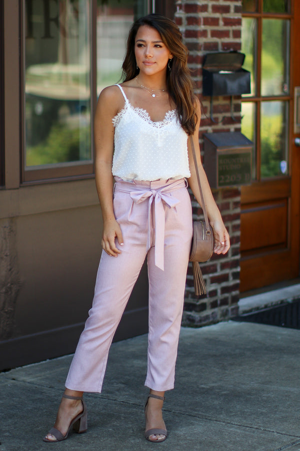 Fully Noted Paperbag Tie Waist Pants - FINAL SALE - Madison + Mallory