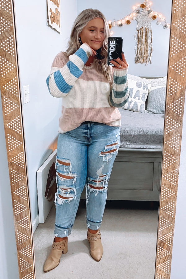 Pretty Thoughts Color Block Knit Sweater - Madison and Mallory