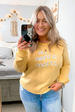 S / Yellow All I Want is Coffee/Wine Reversible Pullover - Madison and Mallory