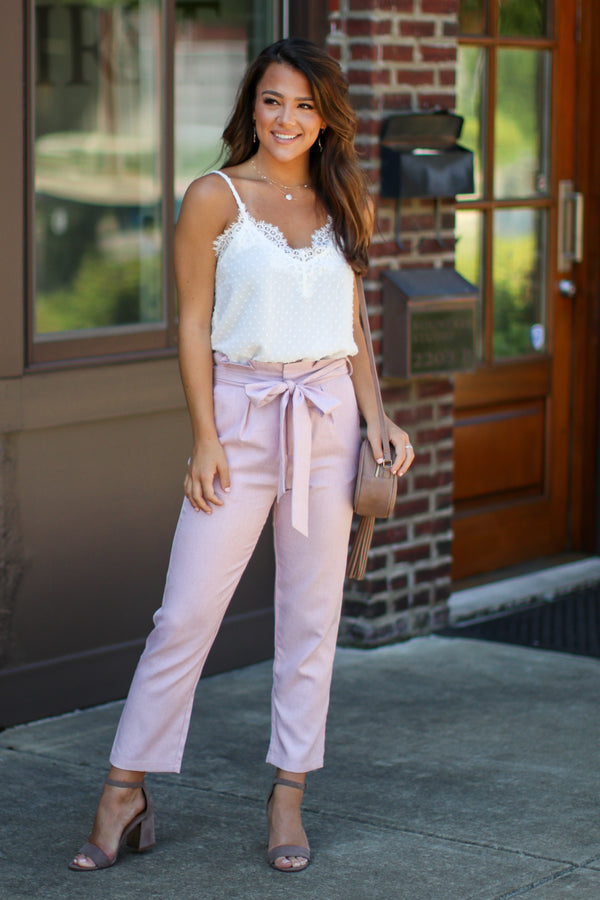 Fully Noted Paperbag Tie Waist Pants - Madison + Mallory