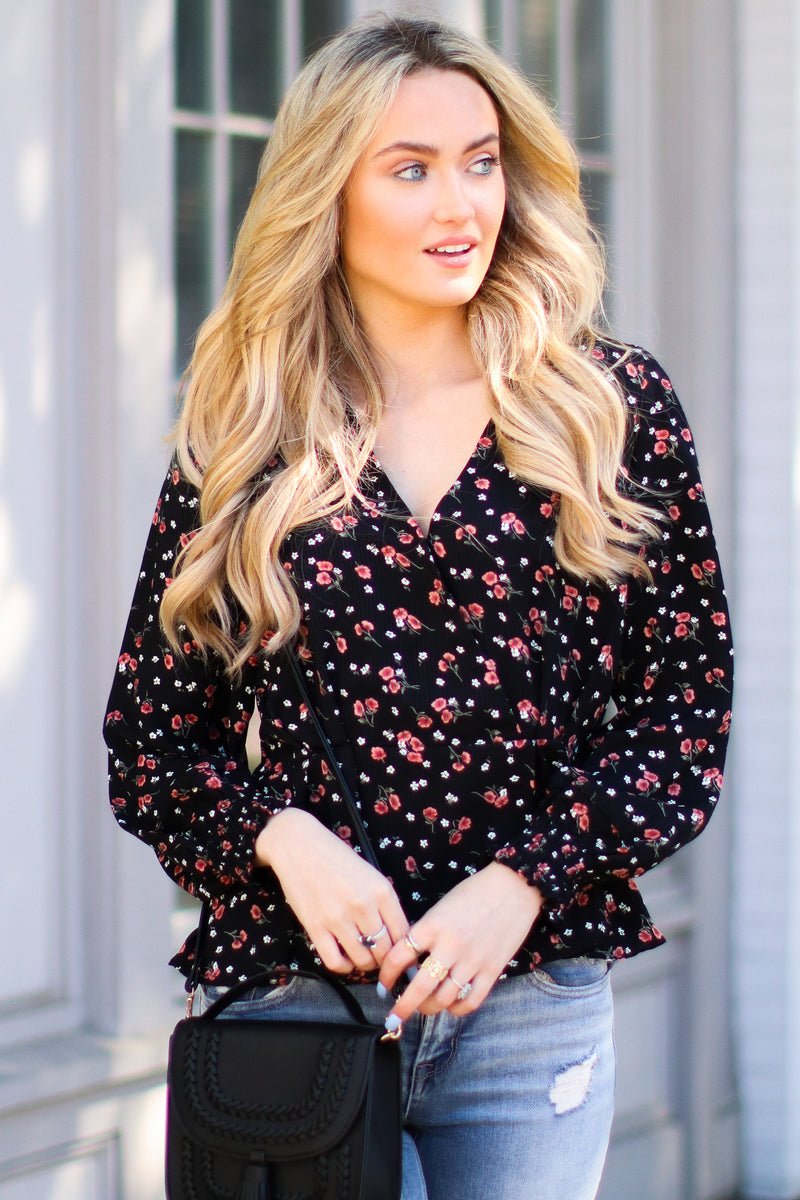S / Black Meadow Path Floral Top - Madison and Mallory