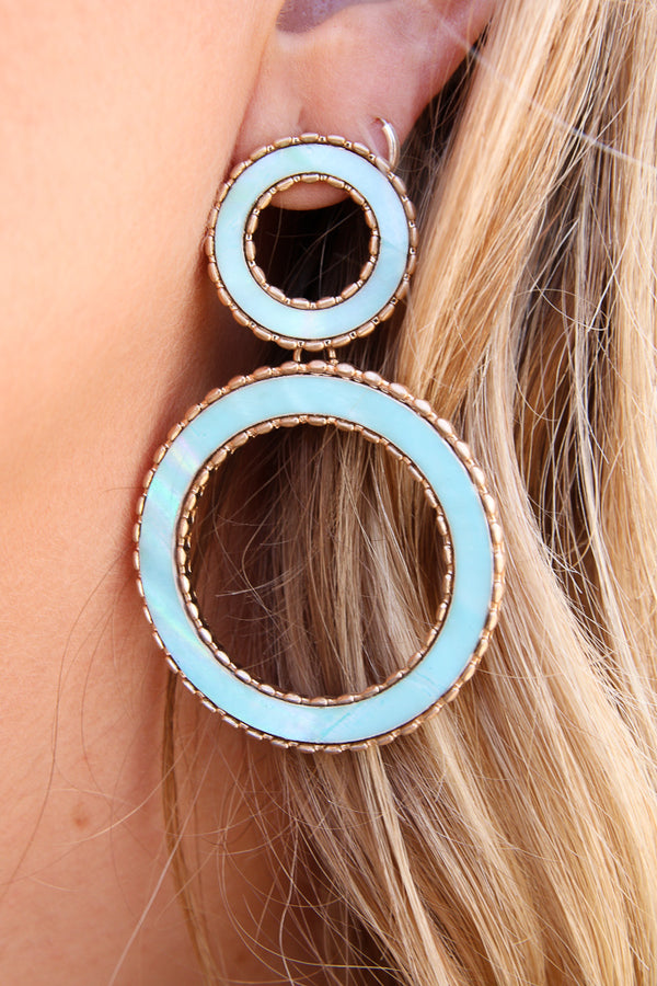 Endless Dream Shell Circle Earrings - FINAL SALE - Madison + Mallory