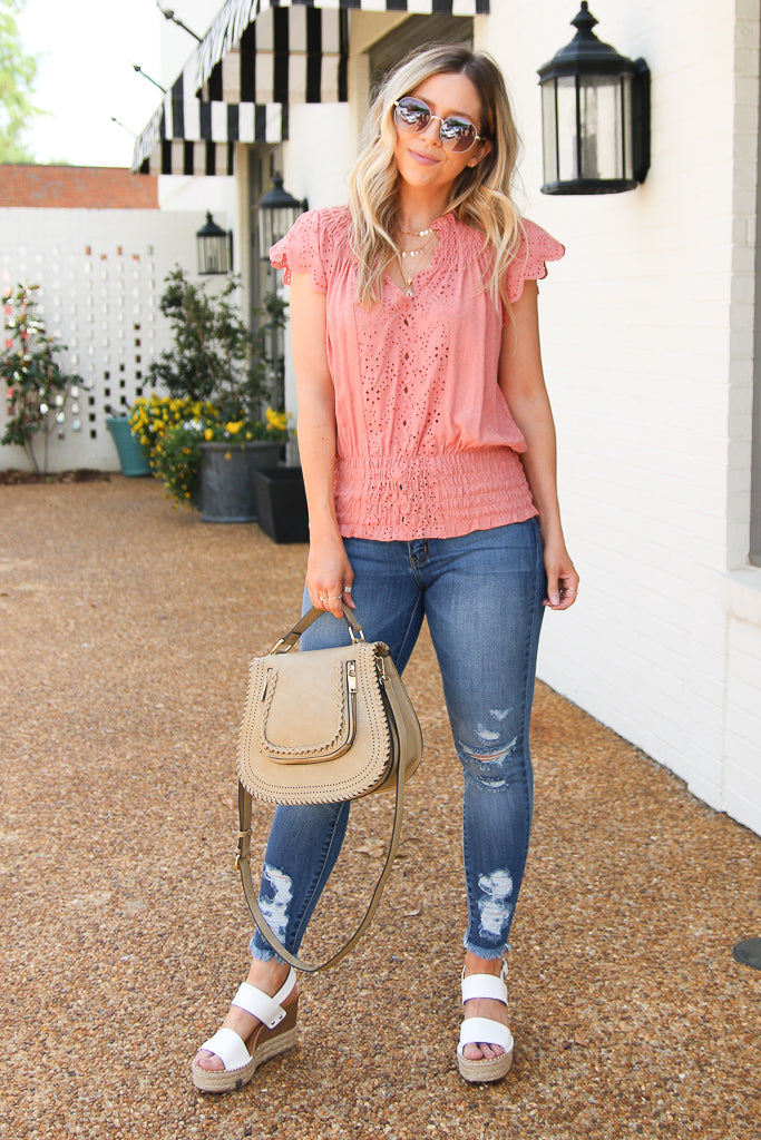 Eyelet in the Sun Woven Top - Coral - Madison + Mallory