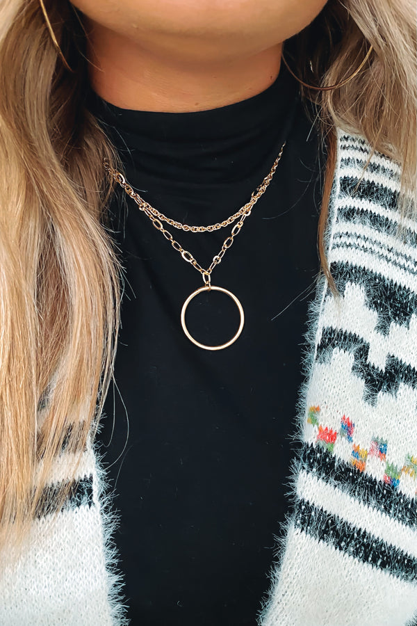 Gold Rhythmic Layered Chain Circle Necklace - Madison and Mallory