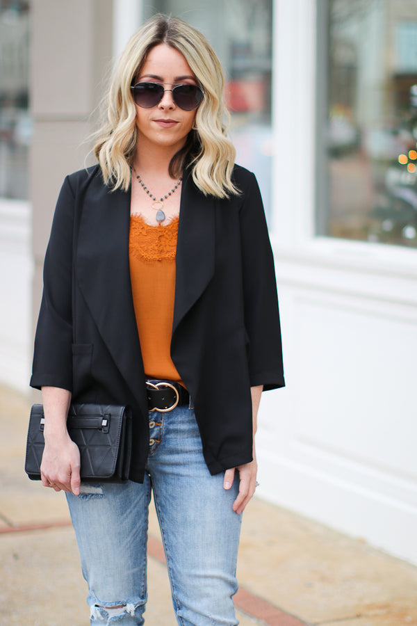 S / Black Chic Situations Blazer - Madison + Mallory