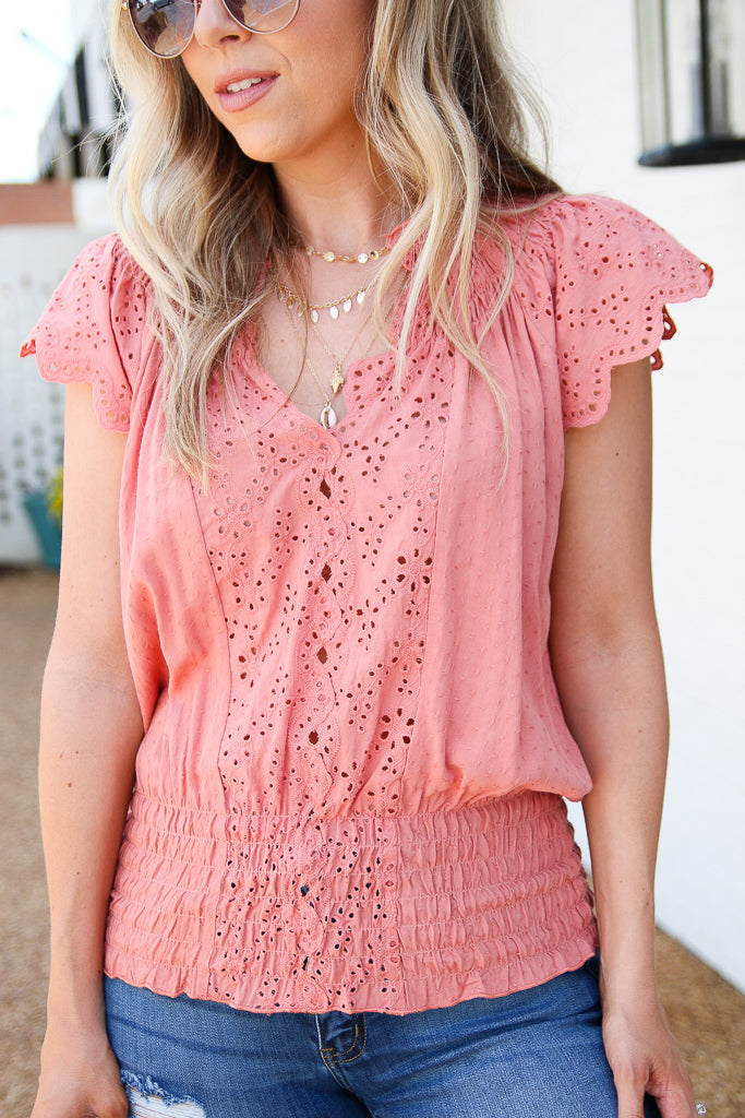 Coral / S Eyelet in the Sun Woven Top - Coral - Madison + Mallory