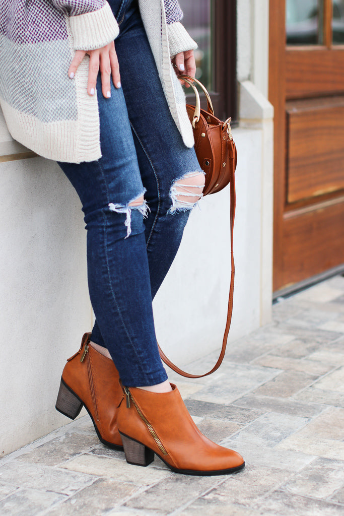 6 / Chestnut Chic Streets Booties - Madison + Mallory