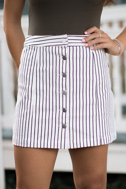 S / White Brylee Striped Skirt - Madison + Mallory