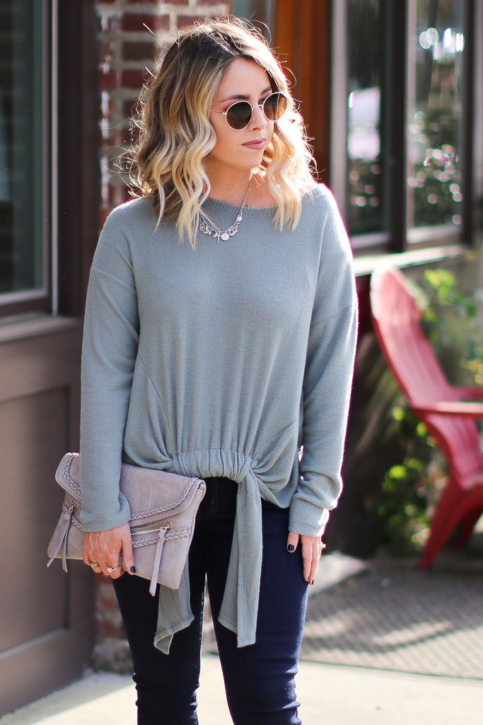 S / Green Pull it Together Tie Front Top - FINAL SALE - Madison + Mallory