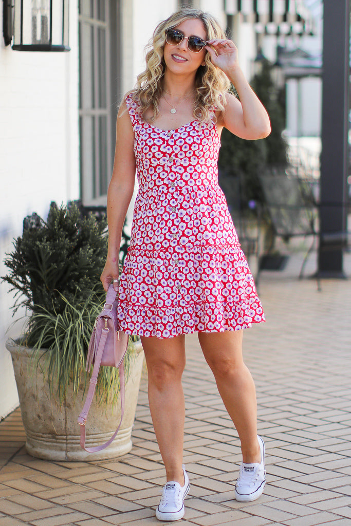 S / Red Floral Fever Sweetheart Button Dress - Madison + Mallory