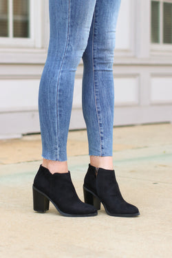 6 / Black Sophisticated Living Faux Suede Booties - Madison + Mallory