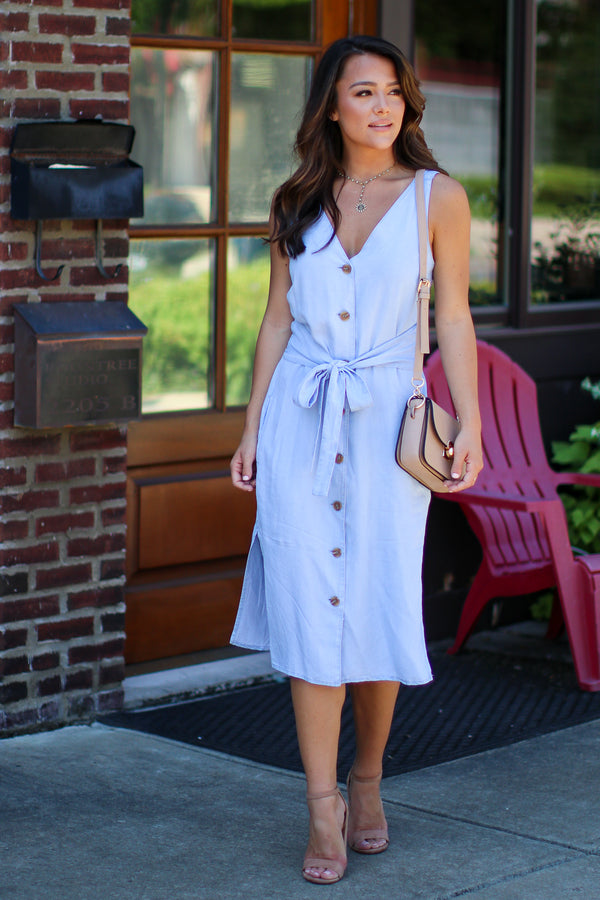 S / Light Blue Follow My Lead Chambray Midi Dress - Madison + Mallory