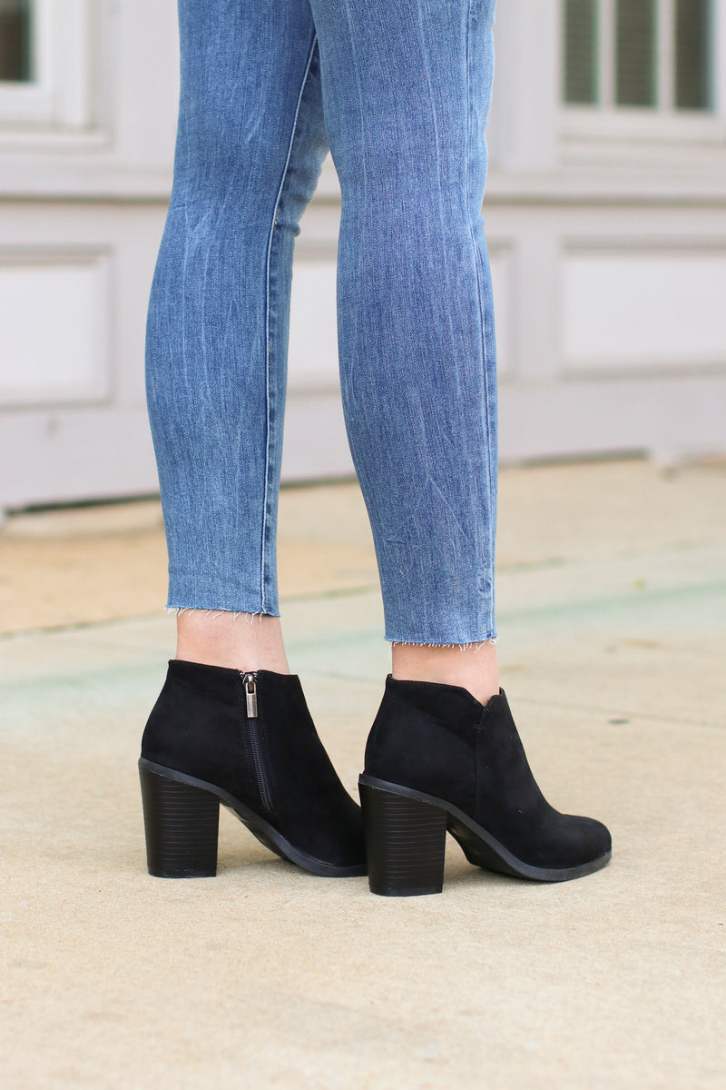Sophisticated Living Faux Suede Booties - Madison + Mallory