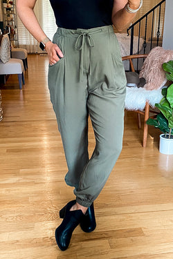 S / Olive Great Adventure Draped Jogger Pants - Madison and Mallory