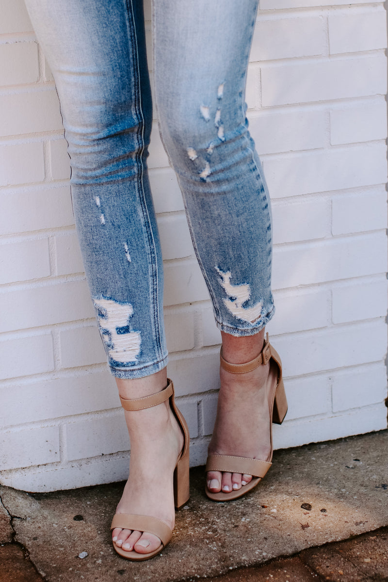 On the Mark Faux Suede Block Heels - Natural - Madison and Mallory