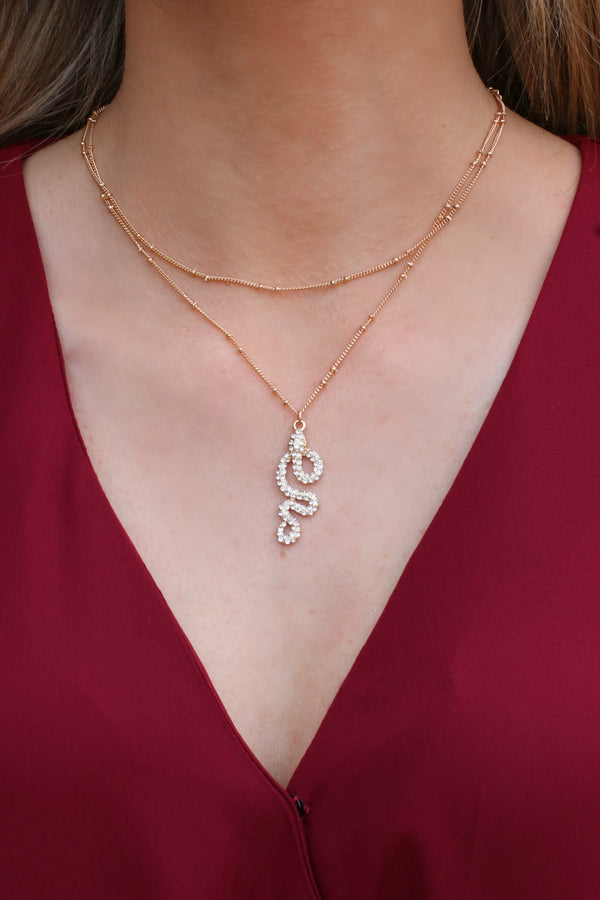 Slide Away Crystal Snake Layered Necklace - Madison and Mallory