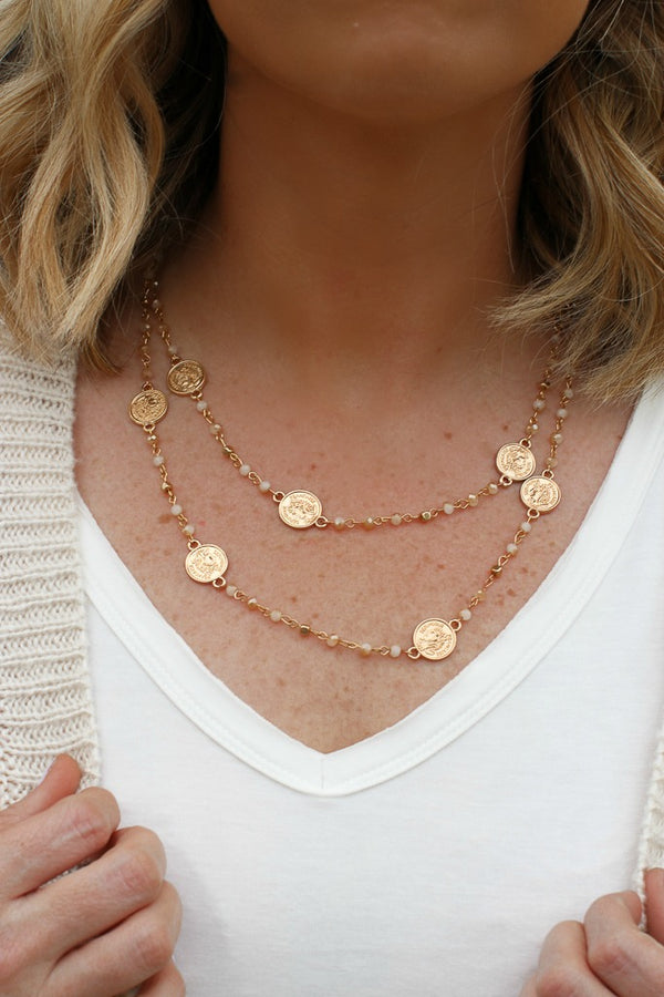 OS / Natural Around the World Coin Necklace - Madison + Mallory
