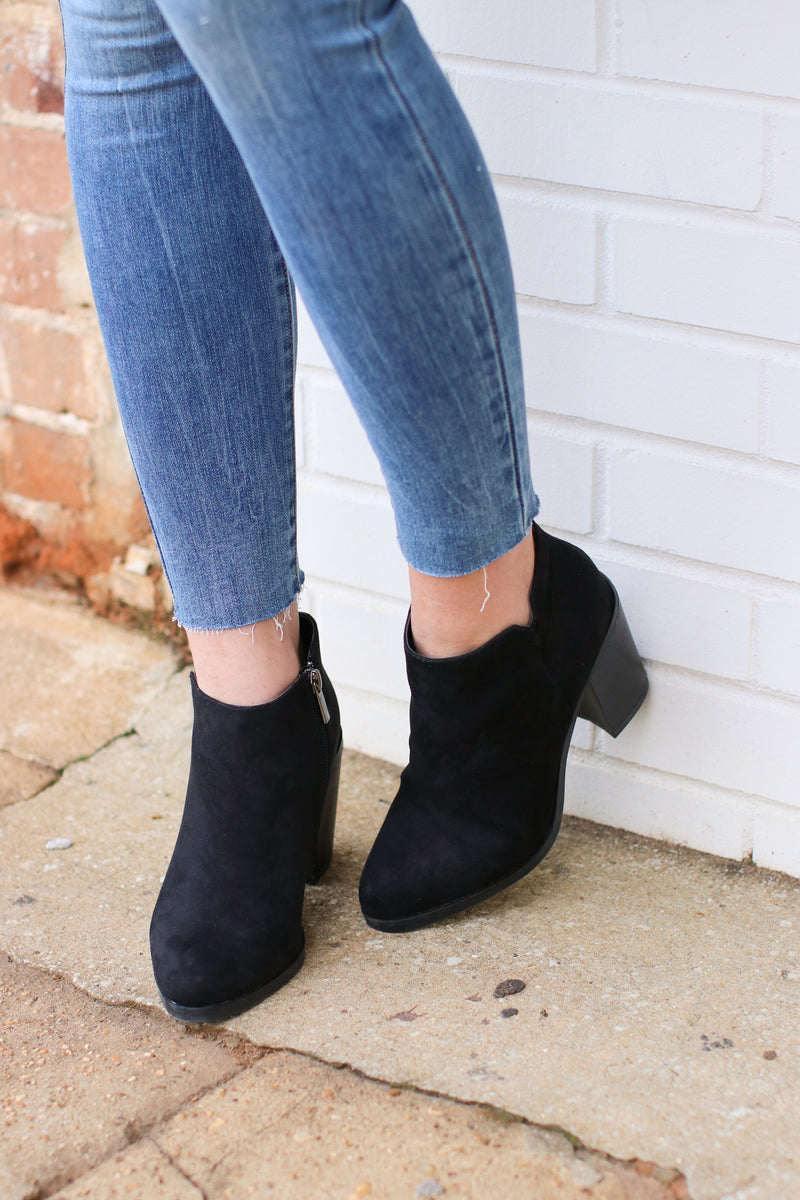 Sophisticated Living Faux Suede Booties - FINAL SALE - Madison and Mallory