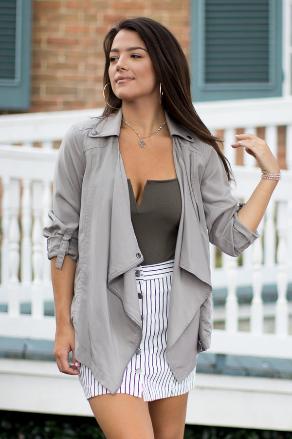 Draped Zipper Jacket - Madison + Mallory