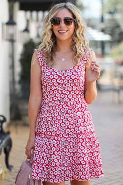Floral Fever Sweetheart Button Dress - Madison + Mallory