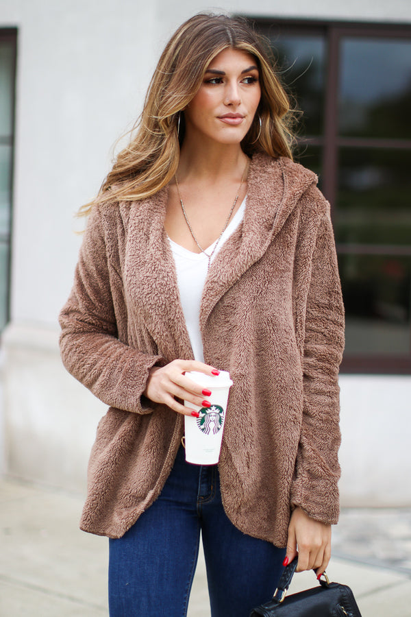 Mocha / S Mocha Zaire Cozy Hooded Cardigan Jacket - Madison + Mallory