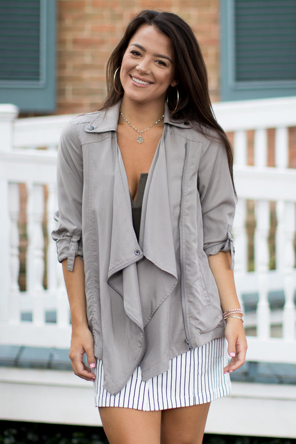 XS / Taupe Draped Zipper Jacket - Madison + Mallory