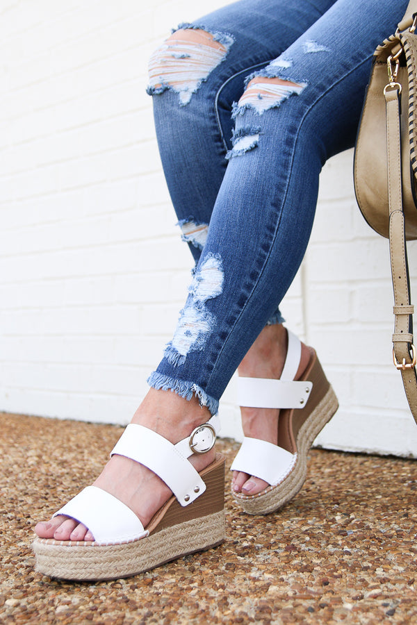 6 / White The Right Moves Espadrille Wedges - White - Madison and Mallory