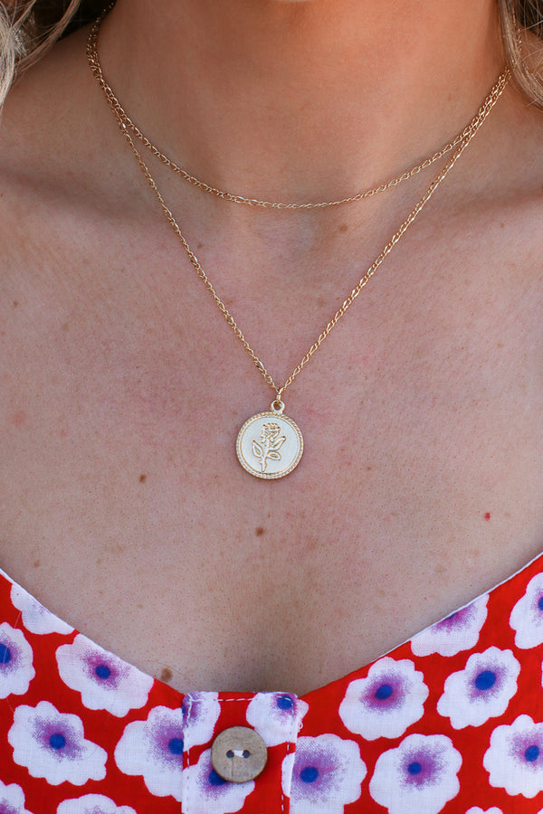 Gold Rose Petals Layered Coin Necklace - Madison + Mallory