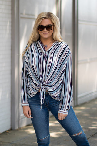 Button Down Stripe Tie Front Top