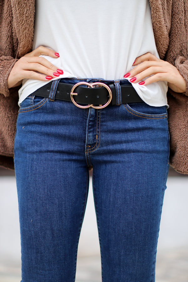 OS / Black/Gold Circle Up Buckle Belt + MORE COLORS - Madison and Mallory
