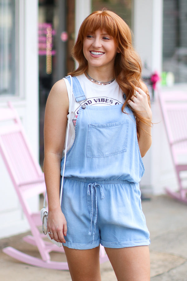 Hot Off the Press Denim Overall Romper - FINAL SALE - Madison + Mallory