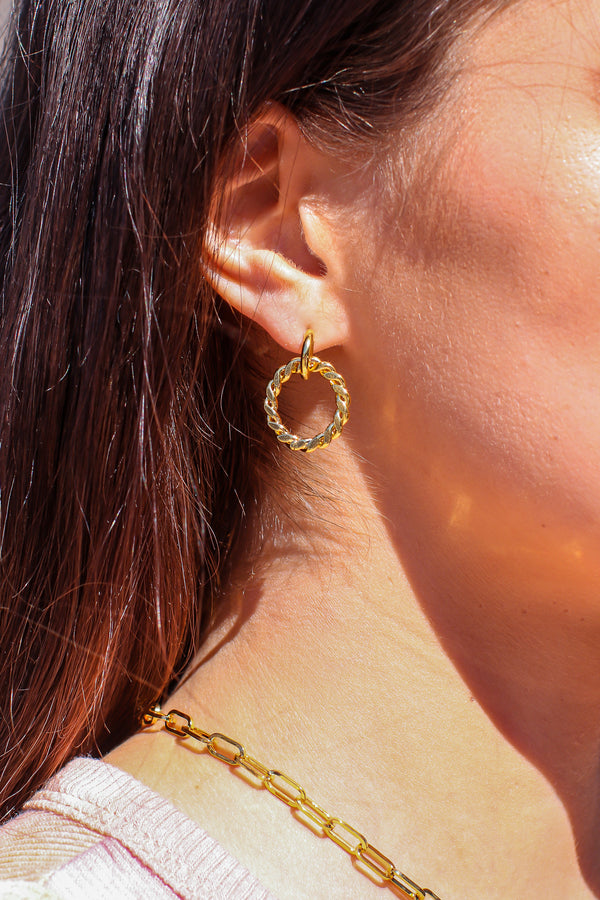 Gold Going Around Twist Rope Stud Earrings - Madison and Mallory