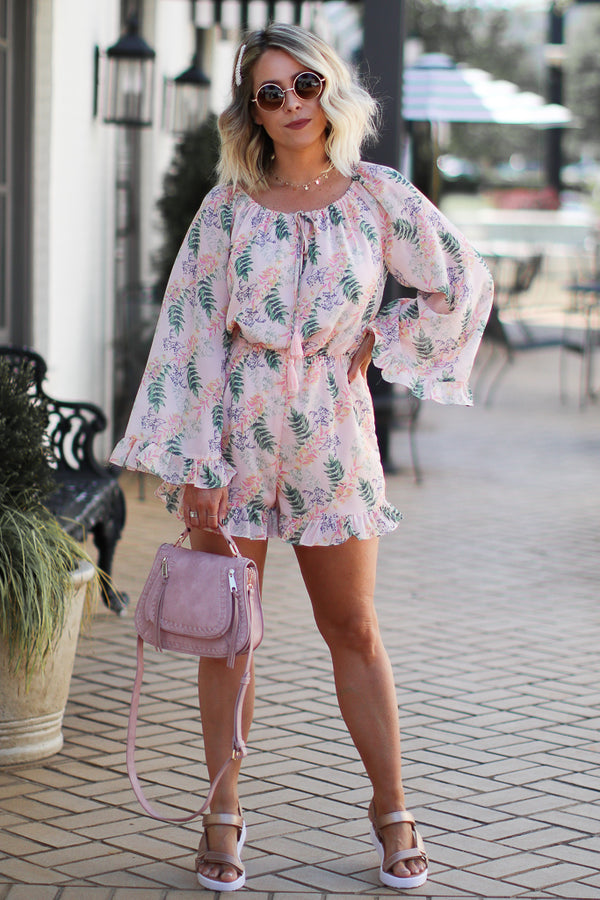 S / Blush Must Be Love Floral Off Shoulder Romper - Madison and Mallory