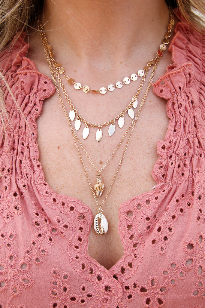 OS / Gold Oceanside Cowrie Shell Layered Necklace - Madison + Mallory