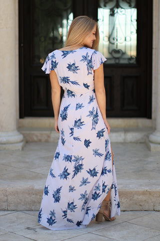 Floral Short Sleeve Cut Out Maxi Dress