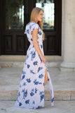 Floral Short Sleeve Cut Out Maxi Dress - Madison + Mallory