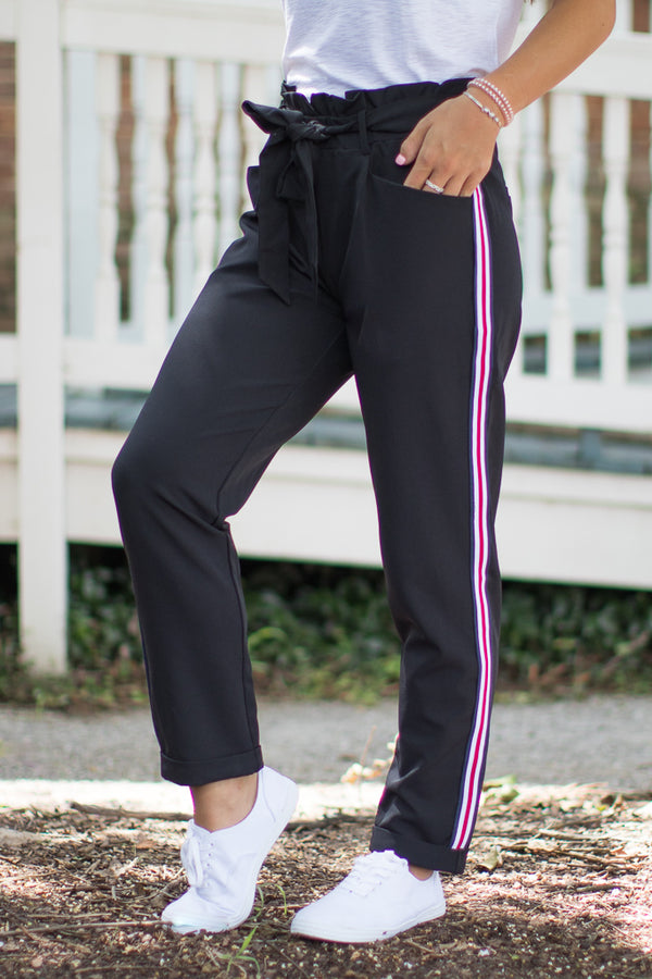 S / Black Tie Waist Side Stripe Pants - FINAL SALE - Madison + Mallory