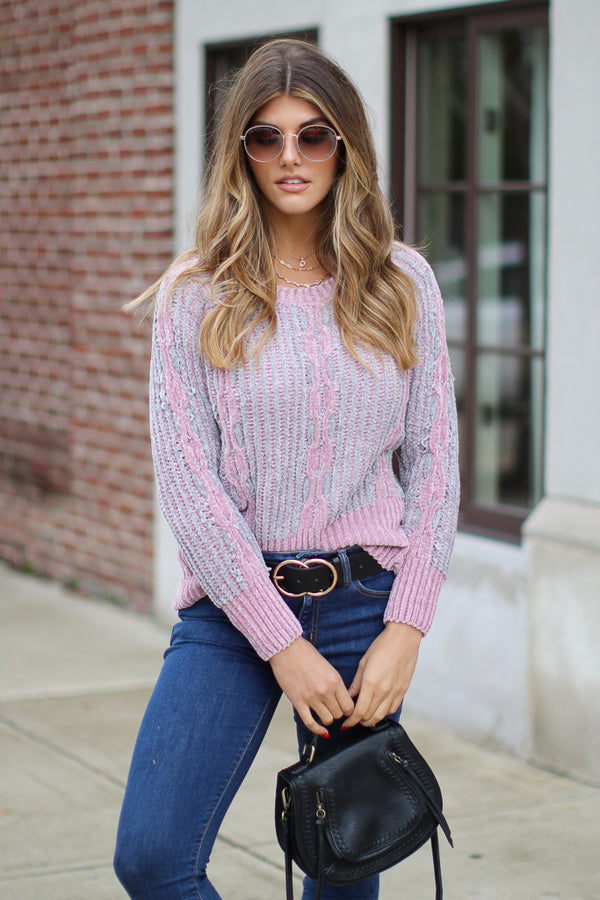 SM / Dusty Pink Avelyn Chenille Knit Sweater - Madison + Mallory