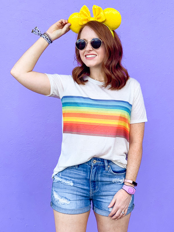 S / Oatmeal Retro Rainbow Graphic Top - Madison + Mallory