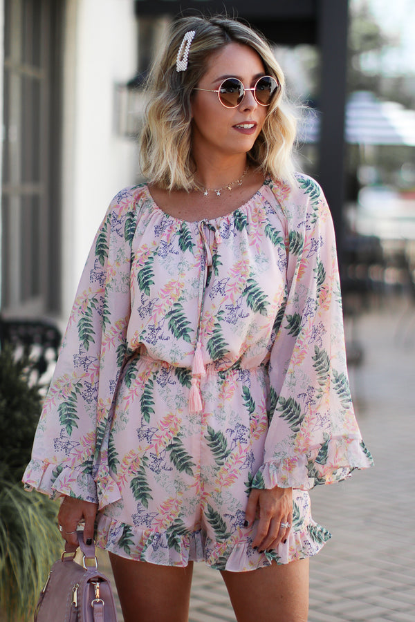 Must Be Love Floral Off Shoulder Romper - Madison and Mallory