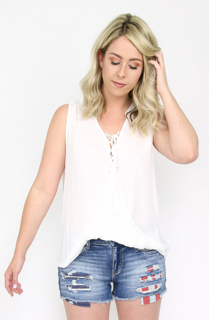 Faux Tuck Lace Up Tank Top