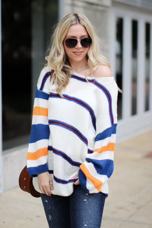 SM / Multi Stripe Libra Multi Stripe Sweater - Madison + Mallory
