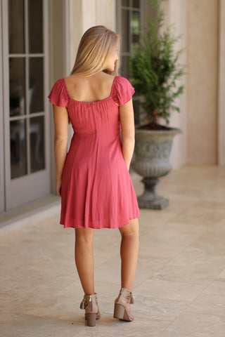Fit and Flare Ruffle Sleeve Dress