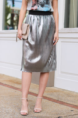 S / Silver Centerpiece Metallic Skirt - FINAL SALE - Madison and Mallory