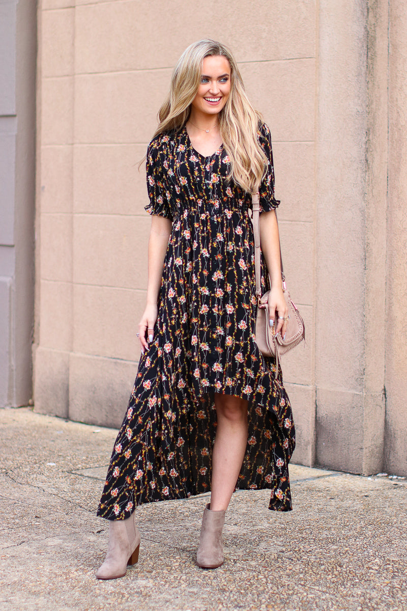 S / Black Blown Away Floral Ruffle Hem Dress - Madison + Mallory
