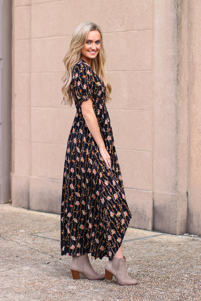 Blown Away Floral Ruffle Hem Dress - Madison + Mallory