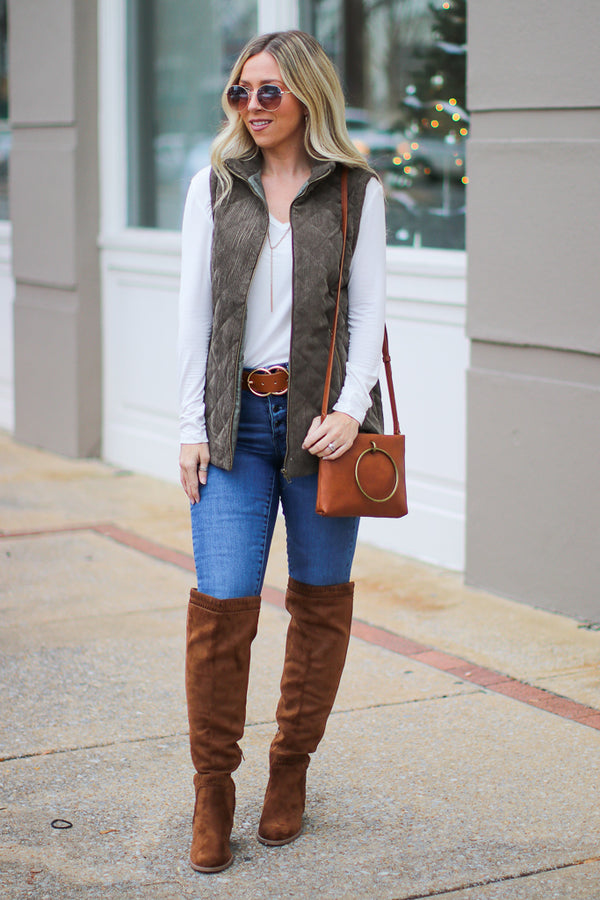 Chic Interest Quilted Vest - Madison + Mallory