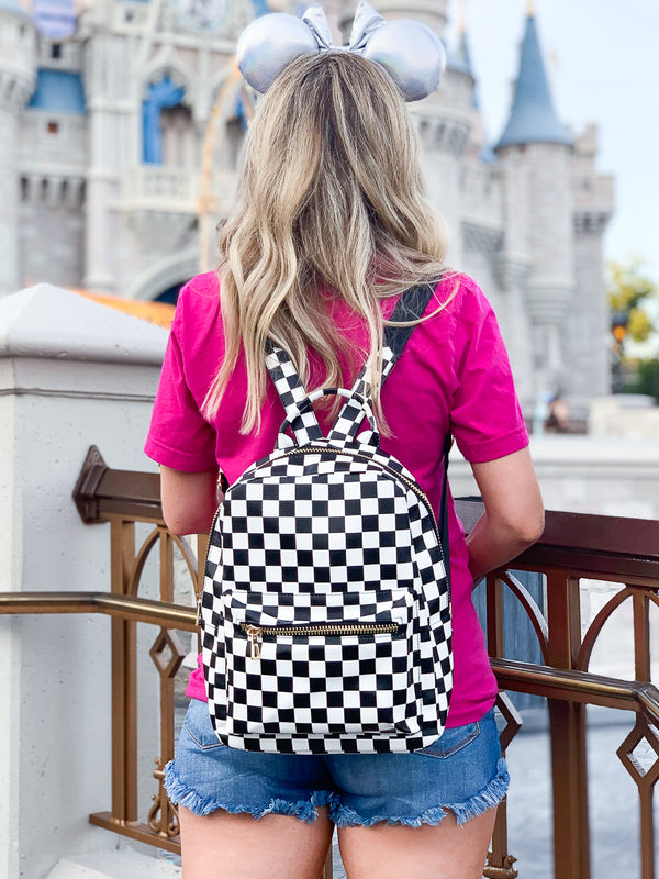 Black Check Me Out Backpack - FINAL SALE - Madison + Mallory