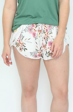 S / White Floral Ruffle Pom Pom Shorts - Madison + Mallory